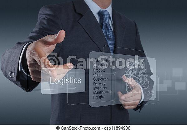 El empresario muestra un diagrama de logística como concepto - csp11894906