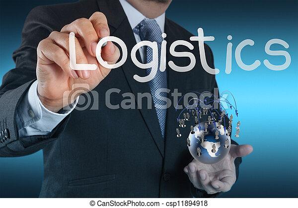 El empresario muestra un diagrama de logística como concepto - csp11894918