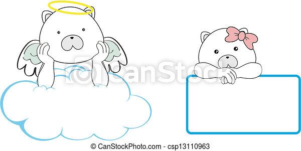 El espacio de dibujos animados del ángel del oso polar - csp13110963