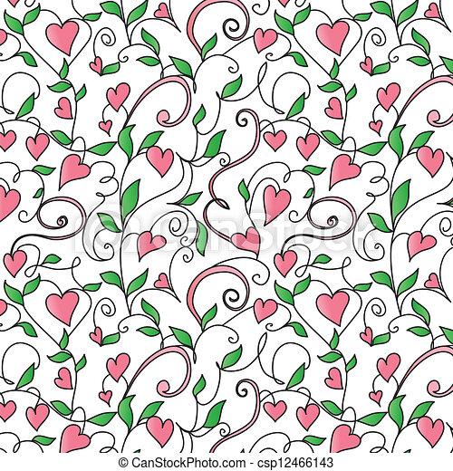 El fondo con adornos de corazones - csp12466143