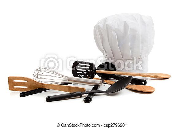 El gorro de Chef con varios utensilios de cocina en blanco - csp2796201