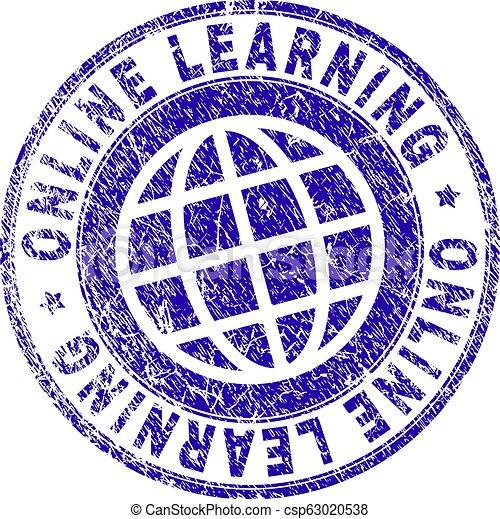 El grunge texturó ONLINE aprendiendo sello de sello - csp63020538