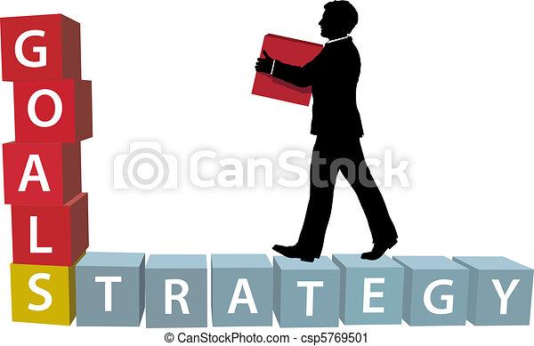 El hombre de la estrategia GOALS construye bloques de negocios - csp5769501