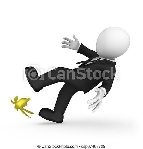 El hombre de negocios 3D se ha resbalado con plátano. El concepto del riesgo. - csp67483729