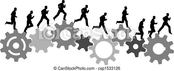 El hombre de negocios con prisas corre con engranajes industriales - csp1533126