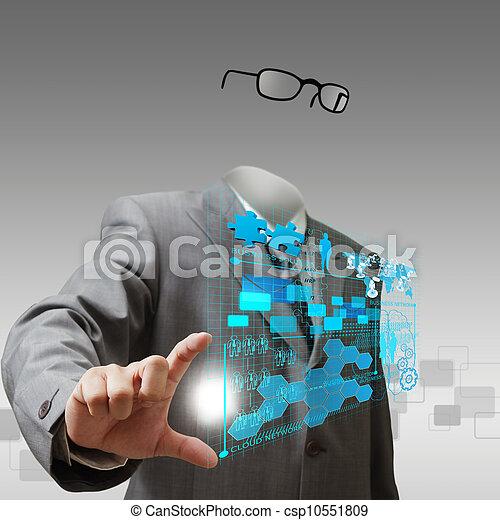 El hombre de negocios invisible muestra progreso de negocios - csp10551809