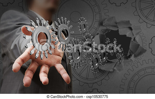 El hombre de negocios muestra a la gente los engranajes - csp10530775