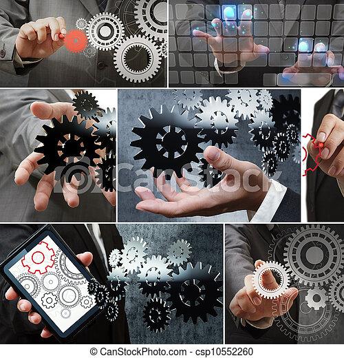 El hombre de negocios muestra el éxito en el fondo blanco - csp10552260