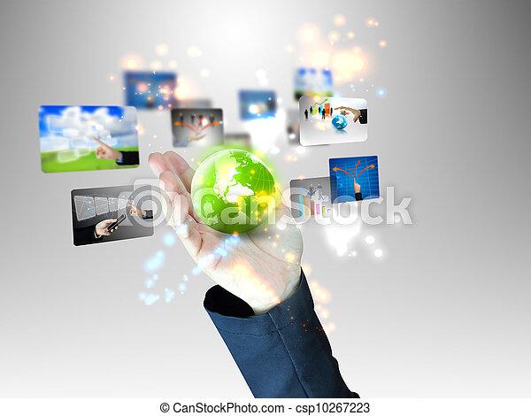 El hombre de negocios tiene un mundo de negocios - csp10267223