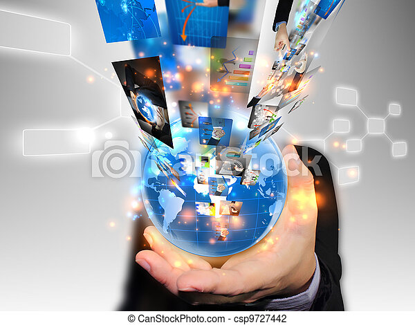 El hombre de negocios tiene un mundo de negocios - csp9727442