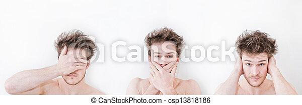El hombre muestra símbolos - csp13818186