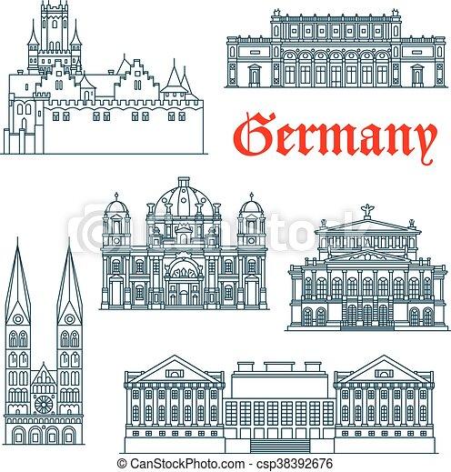 El icono arquitectónico alemán en líneas delgadas - csp38392676