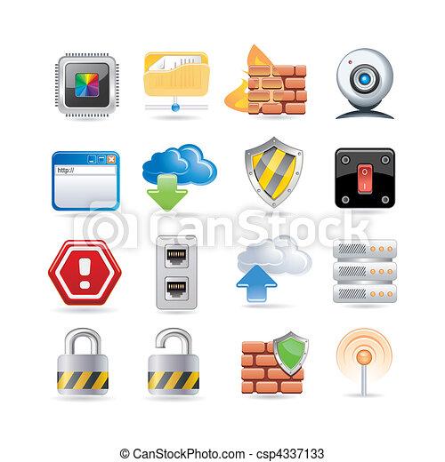 El icono de la red de computadoras está listo - csp4337133