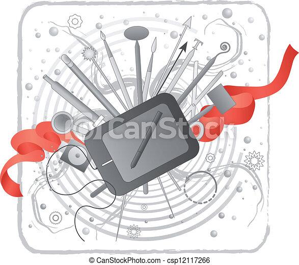 El kit de creatividad de Illustrador/designer. - csp12117266