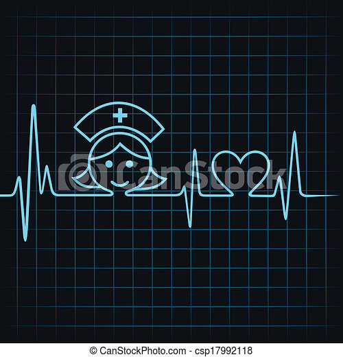 El latido hace a la enfermera cara y corazón - csp17992118