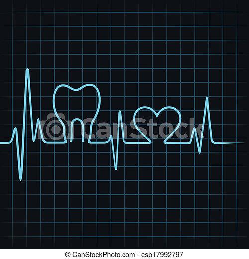 El latido hace un diente y un corazón - csp17992797