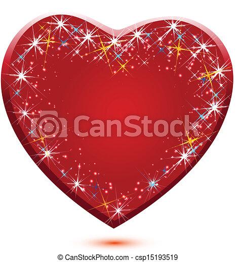 El logotipo rojo del corazón vector - csp15193519