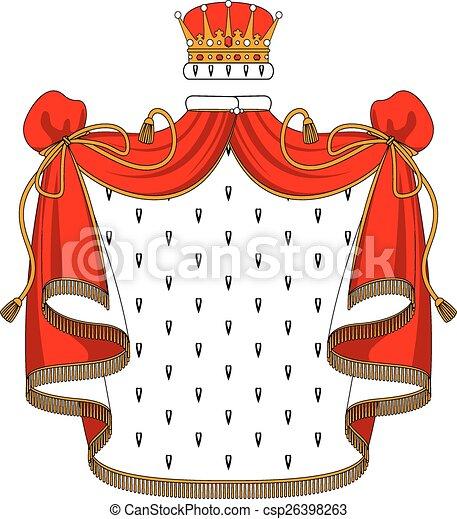 El manto de terciopelo rojo real con corona dorada - csp26398263