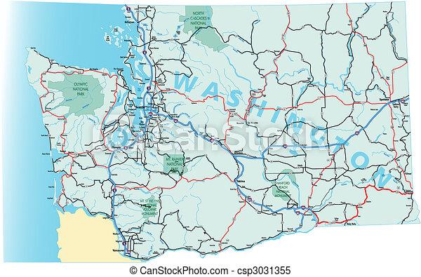El mapa de carreteras interestatal de Washington - csp3031355