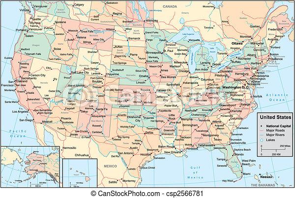 El mapa de Estados Unidos de América - csp2566781
