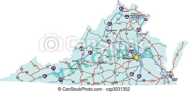 El mapa de la interestatal Virginia - csp3031352