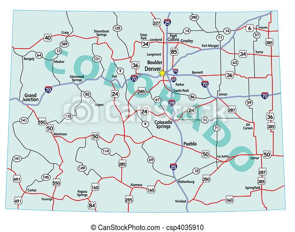 El mapa del estado de Colorado - csp4035910