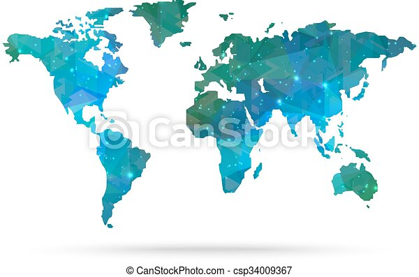 El mapa del mundo del vector de diamante Sparkle - csp34009367