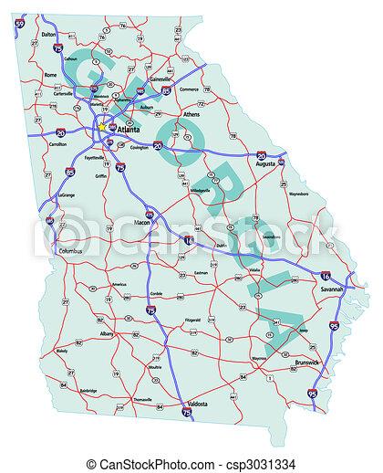 El mapa estatal de Georgia - csp3031334