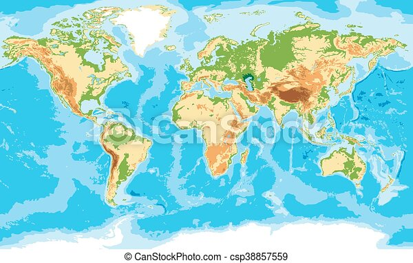 El mapa físico del mundo - csp38857559