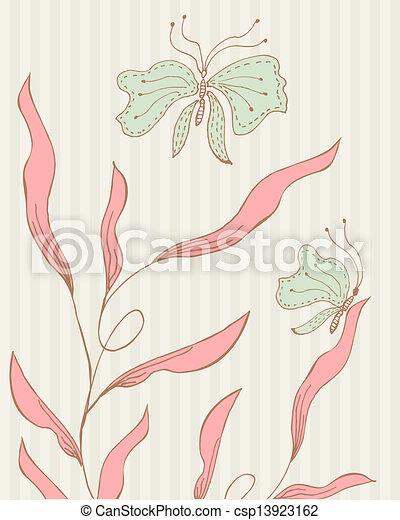 El marco de vector de vitrina de fondo floral - csp13923162