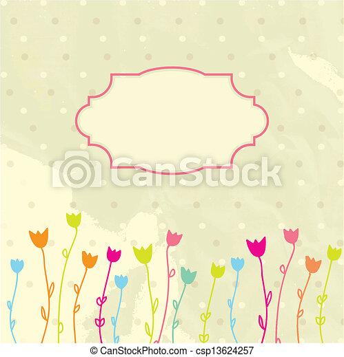 El marco de vector de vitrina de fondo floral - csp13624257