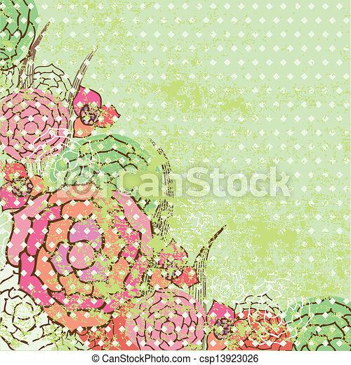 El marco de vector de vitrina de fondo floral - csp13923026