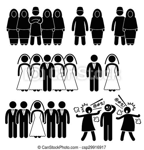 El matrimonio poligamia musulman islámico - csp29916917