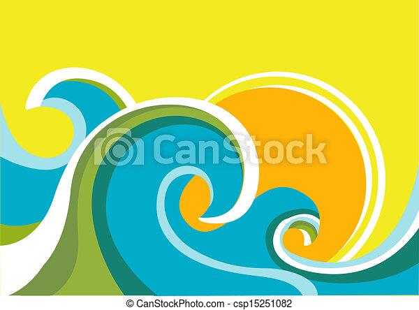El póster de la naturaleza con olas de mar y sol. Color del vector - csp15251082