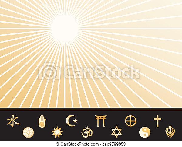 El póster de las religiones mundiales - csp9799853