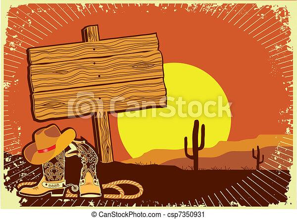 El paisaje del vaquero.Grunge, salvaje fondo occidental del atardecer - csp7350931
