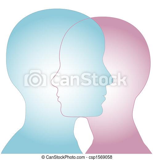 El perfil femenino y masculino se fusiona - csp1569058