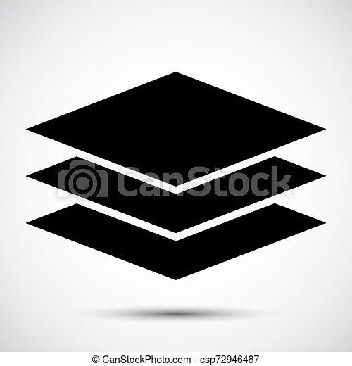 El símbolo de icono de Layers se aísla en el fondo blanco, ilustración de vectores - csp72946487