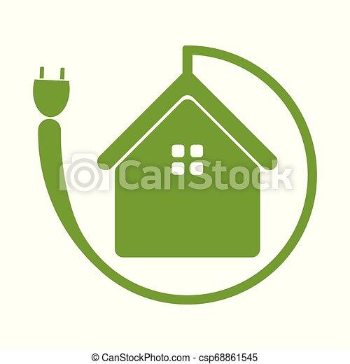 El símbolo de la casa verde, el ícono de la ecología sobre el fondo blanco - csp68861545