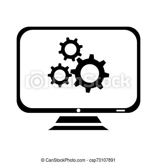El símbolo de reparación de iconos de la computadora se aísla en el fondo blanco, ilustración de vectores - csp73107891