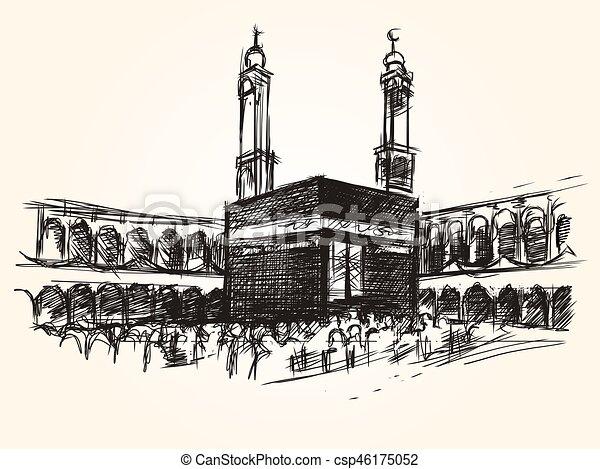 El sagrado edificio simbólico de Kaaba en el vector islámico dibujando peregrinación hajj - csp46175052