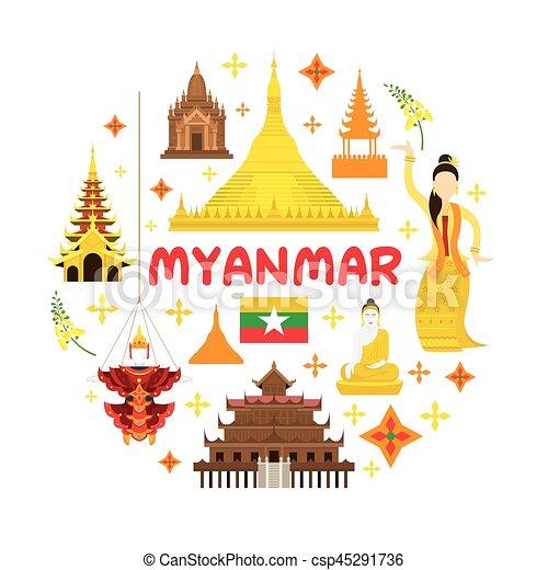 El sello de atracción de Myanmar - csp45291736