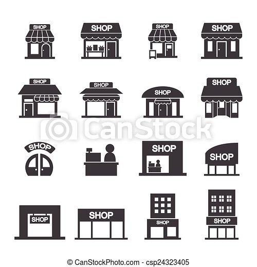 El set de icono de la tienda - csp24323405