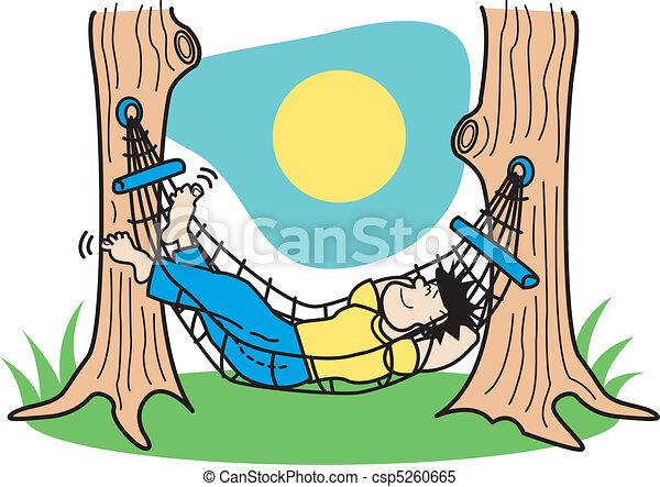 El tipo que duerme en un clip de hammock - csp5260665
