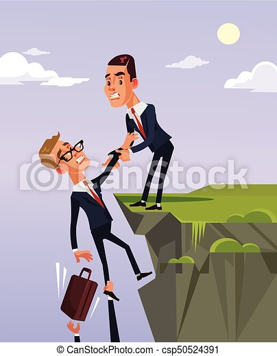 El trabajador de la oficina le da a su colega ayuda y ayuda a salir de la crisis financiera. Ilustración plana de dibujos animados - csp50524391
