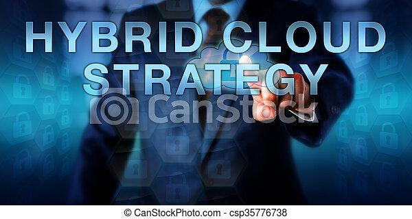 El usuario del Enterprise toca la estrategia de la nube de hidrógeno - csp35776738