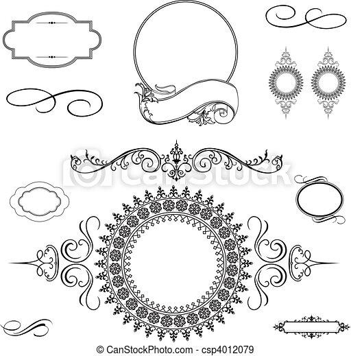 El vector arremolina adornos y marcos preparados - csp4012079