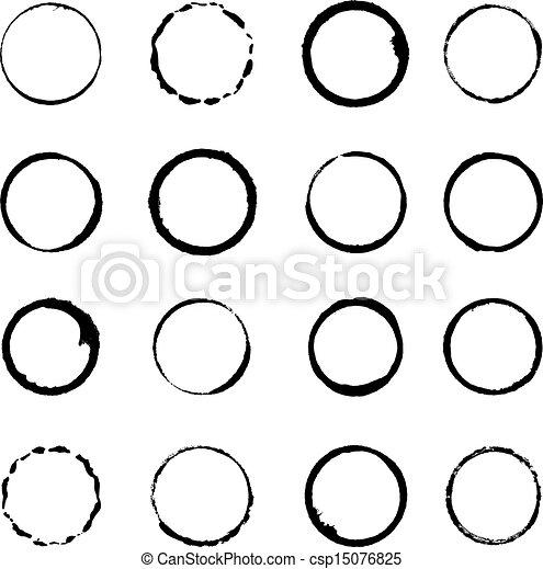 El vector puso los golpes en el círculo grunge - csp15076825