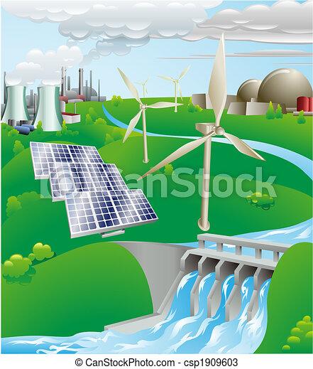 Ilustración de generación de electricidad - csp1909603