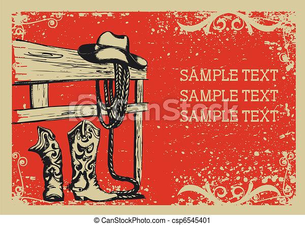 Elementos de Cowboy para la vida. Imágenes gráficas vectores con antecedentes grunges para el texto - csp6545401